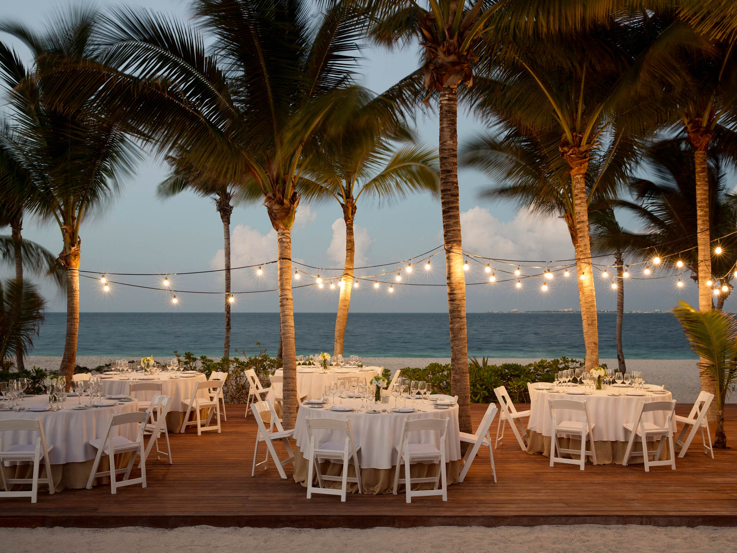 Evening Beach Wedding Reception in Cancun