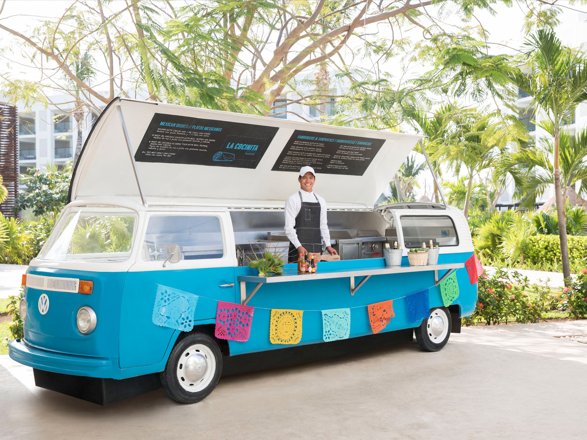 Cancun Resort Food Truck with Tacos and Burgers